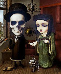 David Ho- this is incredible. It is a remake of a famous portrait by Jan van Eyck called The Arnolfini Wedding Portrait. Jan Van Eyck, Dark Fantasy Art, Memento Mori, David Ho, Pop Art, Arte Lowbrow, Religion, Pop Surrealism, Gothic Art
