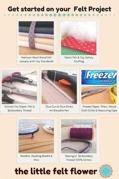 Felt Tips & Tricks Quick photo guide to start your felt project Felt Patterns, Pdf Patterns, Craft Tutorials, Sewing Tutorials, Craft Ideas, Craft Stick Crafts, Felt Crafts, Felt Glue, Beading Needles
