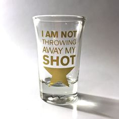It's time to take a SHOT! Raise a glass to this Hamilton Broadway Musical-inspired shot glass. Do not throw away your shot! #ham4ham #hamilton #hamiltonbway #hamiltonmusical #hamiltonbroadway #yayhamlet #handmade #handmadegifts #whiskey #shotglass #shots #drinking #etsy #barware