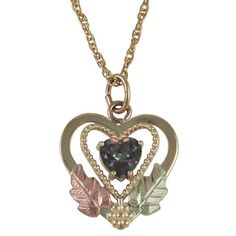 Mystic Fire Gold Heart Pendant & Necklace