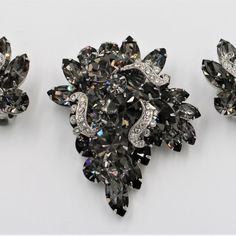 465015a7fd8 Vintage Weiss Black Diamond Pave Icing Rhinestone Brooch Pin Earrings is  simply fabulous and a magnificent