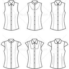 Women's Blouse Fashion Flat Template