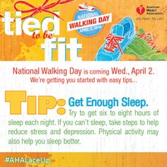 National Walking Day is coming up on Wednesday, April 2nd. We're getting you started with some easy tips!http://bit.ly/1eTI3qy #Walking #walk #getfit #befit #fit #GetStarted #DontGetStuck #physicalactivity #fitness #healthy #nutrition #getmoving #move #tiedtobefit #SHAREifYOUREwalking #repin #pin #PINifYOUREwalking #NationalWalkingDayDC #AHALaceUp