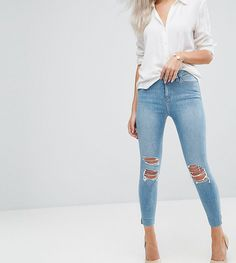 Asos RIDLEY High Waist Skinny Jeans in Albie Lightwash Blue with Rips and Reverse Stepped Hems High Waisted Distressed Jeans, Blue Ripped Jeans, Petite Skinny Jeans, Super Skinny Jeans, Skinny Fit, Superenge Jeans, Shoes With Jeans, Latest Fashion Clothes, Fashion Online