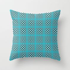 """Chequered Blue Throw Pillow by Alice Gosling - $20.00  Available in 3 sizes, with or without the insert and 16"""" with cover for outside use  #pillow #cushion #home #unique #blue #pattern #circles #shapes #illusion"""