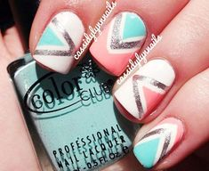 Extremely COOL Coral Teal White Silver Geometry Nails ^_~