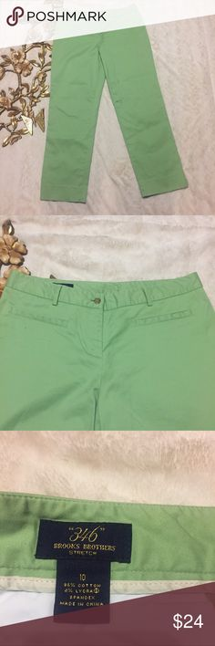 "Brooks Brothers ""346"" Stretch Pants Size 10 Brooks Brothers ""346"" Stretch Pants Size 10 side pockets Straight Leg measurements taken laying flat: 17"" waist 10"" rise 29"" inseam Brooks Brothers Pants Straight Leg"
