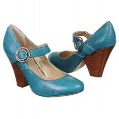 teal buckled heels