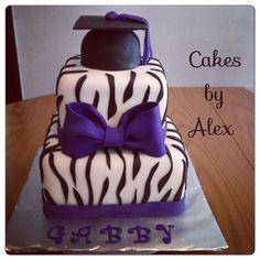 Purple and zebra print graduation cake