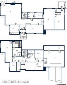 Myynnissä - Omakotitalo, Tammisalo, Helsinki: 6h+k+3wc+s+autotalli - Pyörökiventie 2, 00830 Helsinki - ASUNTO NRO 1, LKV | Oikotie Helsinki, Floor Plans, Floor Plan Drawing, House Floor Plans