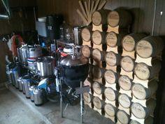 Home brewer's barrel room