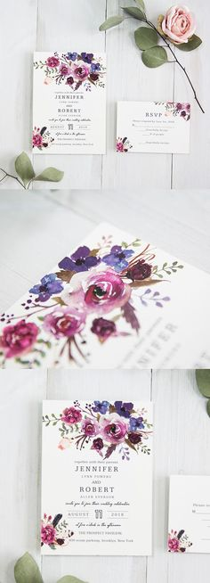 spring pink and purple shades watercolor wedding invitations, watercolor wedding invitations, spring weddings, handpainted wedding invitations, diy wedding invitations sample Laser Cut Wedding Invitations, Diy Invitations, Wedding Invitation Templates, Invitation Ideas, Purple Invitations, Invitations Online, Wedding Invitation Trends, Corporate Invitation, Spring Wedding Invitations