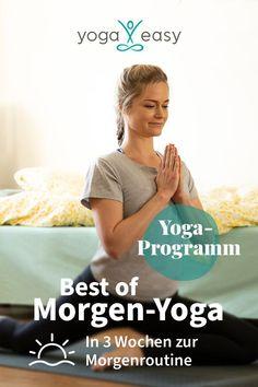 """Dein Wunsch: Du hüpfst jeden Morgen federleicht aus dem Bett auf die Matte und übst bei Sonnenaufgang Yoga. Deine momentane Realität: Du kannst dich einfach nicht aufraffen. Keine Sorge, es gibt eine Lösung: Etwa drei Wochen braucht unser Gehirn, um eine neue Gewohnheit wirklich zu verinnerlichen. Mit dieser Herausforderung lassen wir dich natürlich nicht allein! Wir haben unsere 21 besten und beliebtesten Yoga-Videos für dich in diesem """"Best of Morgen-Yoga""""-Programm zusammengestellt… Fitness Workouts, Easy Yoga, Routine, Yoga Videos, Ayurveda, Sport, Keep Fit, Health Department, Weight Loss Secrets"""