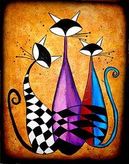 Abstract Cat Paintings - Three Cat by Fernando Garcia