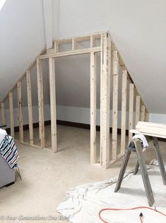 Need a closet? How to frame a closet with a slanted ceiling in 3 hours. I love the idea of creating a walk in closet in an attic or loft. Perfect for storage or attic bedroom closet. #howtoframeacloset #howtobuildacloset #atticcloset #atticclosetideas #atticclosetideasangledceiling #atticclosetangledceilings #atticclosetideasangledceilingsdiy #slantedceilingcloset #kneewallcloset #atticclosetideas #loftcloset  via @4gens1roof