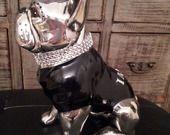 """Grande statue bouledogue français céramique, \""""Ianky\"""" unique, Laure Terrier"""