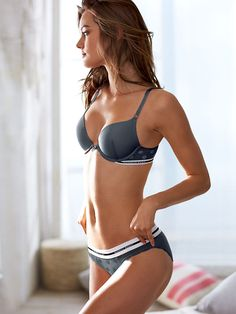 Cute, comfy, sporty AND it's a push-up? This lingerie look has it all. That's why we're dubbing it a must-bring for your city escape. Wear it with your basics for day, and dress it up with a plunging neckline for nights out. | Victoria's Secret Push-Up Bra & Panty