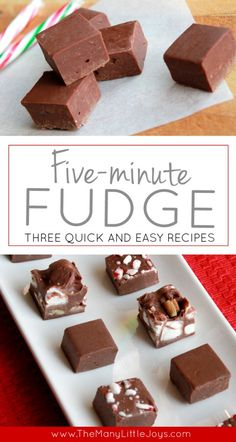 Need a quick treat to take to a Christmas party, or a last-minute gift for a neighbor? Make this easy fudge recipe in five minutes. You can dress it up by adding mix-ins, or keep it simple with only t (Two Ingredients Fudge) How To Make Fudge, Easy Treats To Make, Quick Easy Desserts, Simple Dessert Recipes, Making Fudge, Quick And Easy Sweet Treats, Christmas Desserts Easy, Christmas Fudge, Christmas Baking