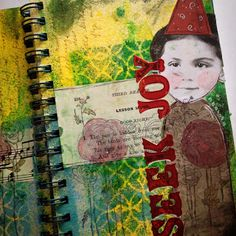 Seek Joy - mixed media art journal page. Stencils, paint, stamps, vintage paper and stickers