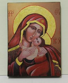 Religious Icon Virgin Mary and child Jesus Christ by COLOREART, $49.00