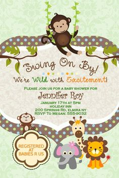 Monkey baby shower invitation template 4x6 boy baby shower jungle safari custom baby shower invitations swinging monkey giraffe lion elephant personalized for a boy girl twins and more this jungle theme filmwisefo Image collections