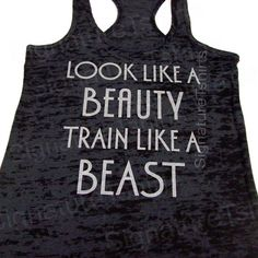 Look Like A BEAUTY train like a BEAST Womens Workout Tank top Racerback Burnout clothing fitness gym Black on Etsy, $22.95