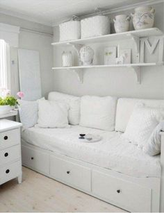 For spare room - ikea Hemnes day bed - white All White Room, White Rooms, White Space, Girls Bedroom, Bedroom Decor, Ikea Bedroom, Girl Rooms, Trendy Bedroom, Bedroom Colors