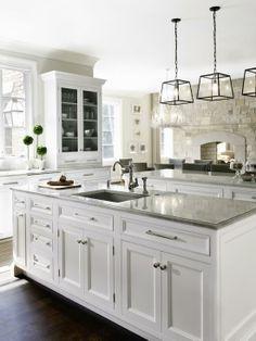 Stylish kitchen with modern light fitting from La Maison | Marseille Chandelier…