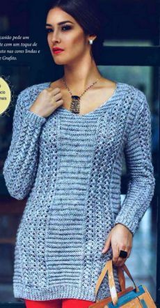 The extended pullover a pattern from openwork strips and platochny paths Knitting Machine Patterns, Sweater Knitting Patterns, Knitting Stitches, Crochet Shirt, Crochet Cardigan, Knit Crochet, Knitting Pullover, Knitted Poncho, Knit Vest Pattern