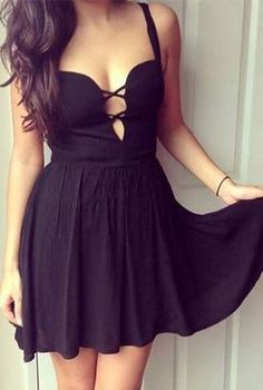 Little black dress with crisscross front