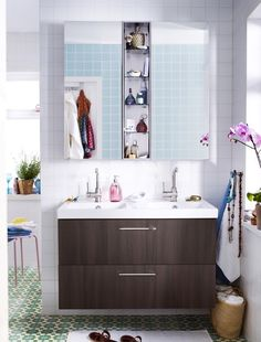 Modern IKEA Bathroom With Floating Wooden Vanities And White Single Sink Also Large Wall Mounted Cabinet With Mirror Door And Ethnic Ceramic Floor Tiles Also White Walls Design Ideas Ikea Bathroom Design Ideas With Cabinet Ikea Bathroom Sinks, Small Bathroom Mirrors, Baby Bathroom, Bathroom Floor Tiles, Bathroom Storage, Bathroom Ideas, Small Bathrooms, Baby Zimmer Ikea, Ikea Storage Cabinets