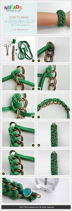 how to make a rope bracelet with chain ✭Teresa Restegui http://www.pinterest.com/teretegui/ ✭