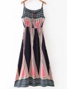 Geometric Print Long Dress