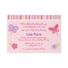 Baby Girl Butterfly Custom Baby Shower Invitations