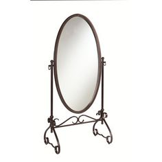 Linon Clarisse Antique Brown Metal Oval Mirror - Overstock™ Shopping - The Best Prices on Linon Bedroom Mirrors
