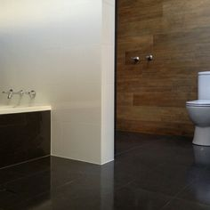 Bathroom - timber ceramic tile feature wall