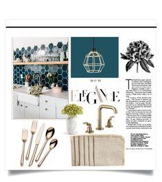"""Kitchen Ideas"" by doragutierrez ❤ liked on Polyvore featuring interior, interiors, interior design, home, home decor, interior decorating, Bahne, Brizo, Towle and Sir/Madam"