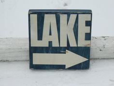 Lake  sign with arrow rustic vintage style by CountryFolksCreation, $25.00