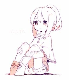 A slightly chibi anime girl sitting with her knees up as she daydreams.