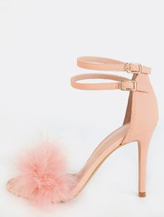 Feather Dual Strap Heels PINK