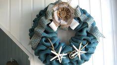 Beach Blue Burlap Wreath Nautical Cottage Chic by wreathsplusbylyn, $50.00