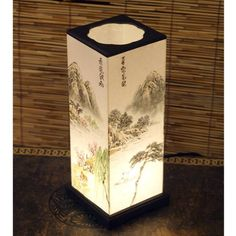 Mulberry Rice Paper Shade Handmade Four Season Landscape Painting Design White Square Lantern Asian Oriental Decorative Bedside Bedroom Mini Accent Unusual Table Light Lamp by Antique Alive. $79.95. This rectangular lampshade is made of white hanji with four season landscape painting. When the lamp is turned on, the four different paintings on each side harmonize perfectly with the white background. The cover and base of the lamp is also made of hanji and is dyed with a natur...