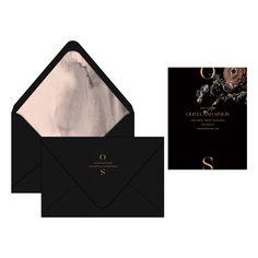 Jardin Save the Date / Wedding Invitation / Rehearsal Dinner / Moody Floral / Black & Blush Watercolor / Brass Foil Stamp / Editorial / Moon Canyon / Nynne Rosenvinge / Modern / Custom / #myownblissandbone