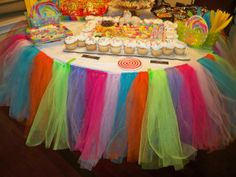 future salon kids party table/desert table TuTu Tablecloth for candyland party! More