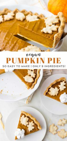 The best vegan pumpkin pie recipe ever! The flavorful pumpkin filling requires only 9 ingredients, and is made in a blender! #vegan #plantbased #dairyfree
