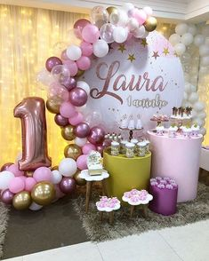 Beautiful decoration for your baby party with your budget 𝑫.𝑮 𝑭𝑶𝑹 𝑾𝑬𝑫𝑫𝑰𝑵𝑮 𝑷𝑳𝑨𝑵𝑵𝑬𝑹 & 𝑬𝑽𝑬𝑵𝑻𝑺  1st Birthday Girl Decorations, 1st Birthday Party For Girls, Girl Birthday Themes, Barbie Birthday, Princess Birthday, 50th Birthday, Deco Ballon, 1st Birthdays, Beautiful Decoration