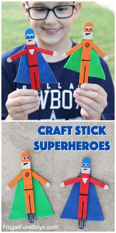 Use craft sticks to make some really awesome superheroes! Fun craft for kids. Fathers Day Crafts, Crafts For Kids To Make, Craft Activities For Kids, Projects For Kids, Preschool Activities, Kids Crafts, Art For Kids, Crafts For Camp, Super Hero Activities