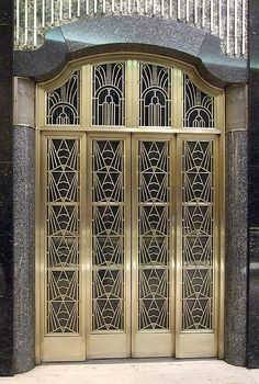 Art deco elevator at Macy's Department Store, Brooklyn NY - Doors