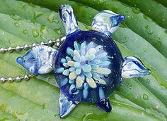 Sea Turtle Pendant by ToadHillFarmGlass on Etsy