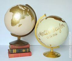 """Custom Wedding #Globe – Hand Painted – 12"""" Diameter – Custom Colors and Quote or Names – Perfect for Wedding Guestbook or Centerpiece   www.etsy.com/shop/considertheworld"""